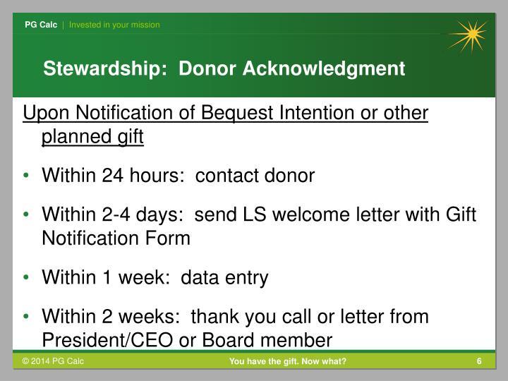 Stewardship:  Donor Acknowledgment