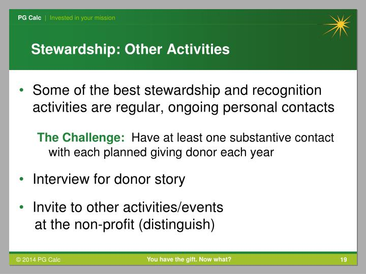 Stewardship: Other Activities