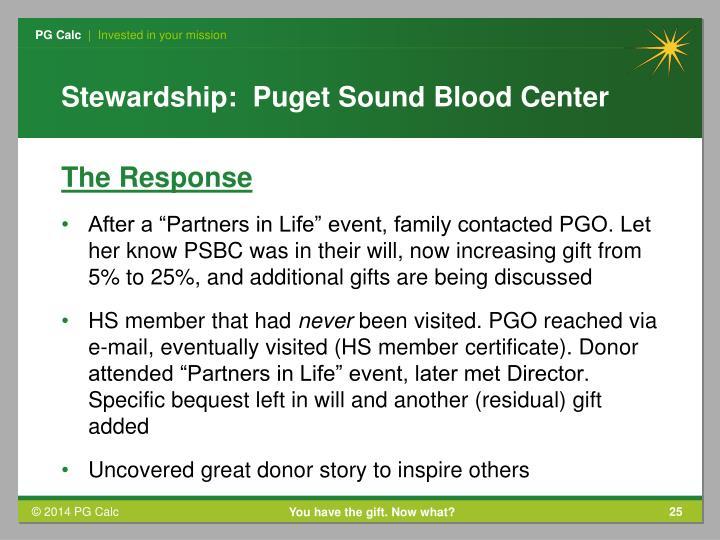 Stewardship:  Puget Sound Blood Center