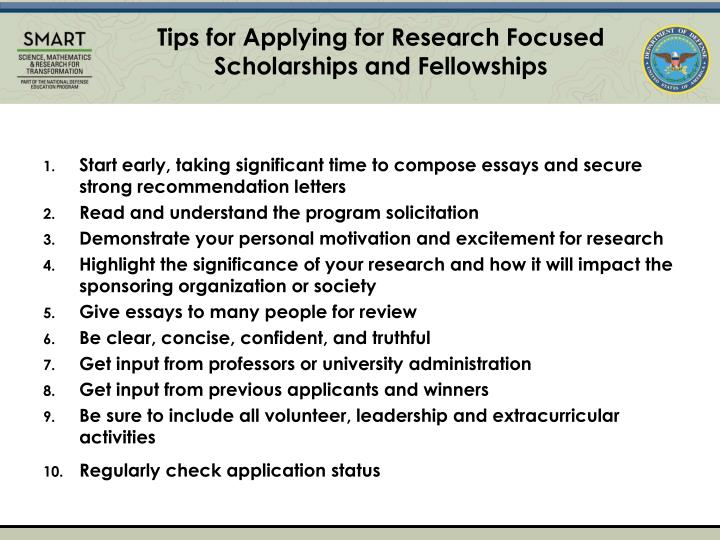 Tips for Applying for Research Focused Scholarships and Fellowships