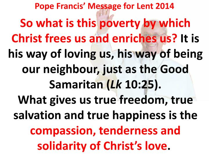 Pope Francis' Message for Lent 2014