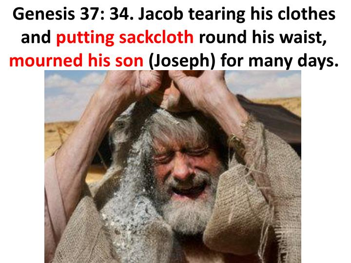 Genesis 37: 34. Jacob tearing his clothes and