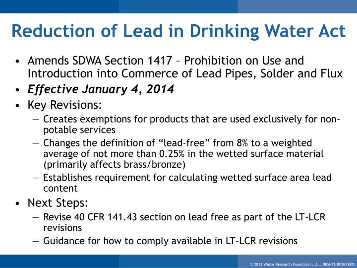 Reduction of Lead in Drinking Water Act