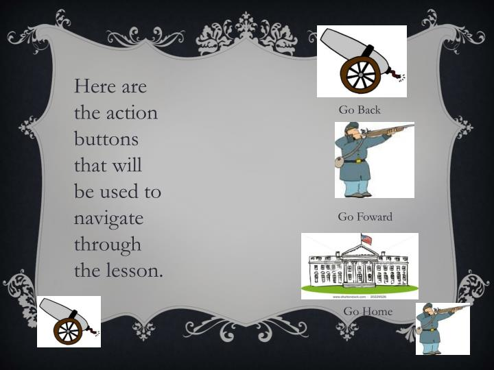 Here are the action buttons that will be used to navigate through the lesson.