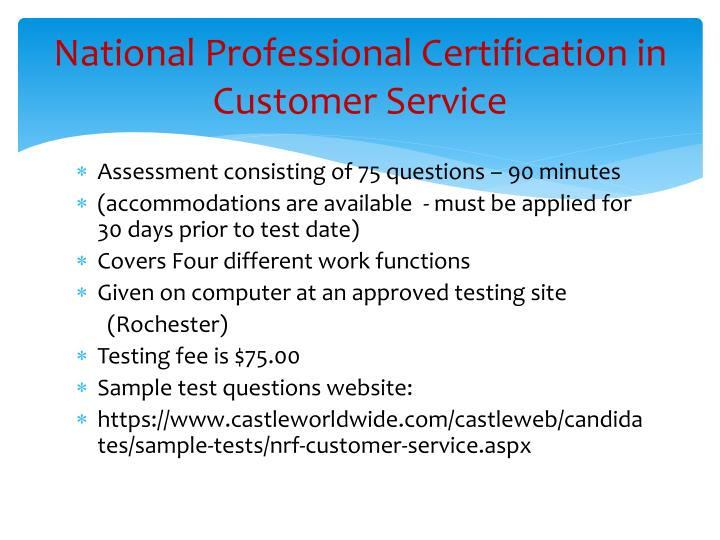 National Professional Certification in Customer Service