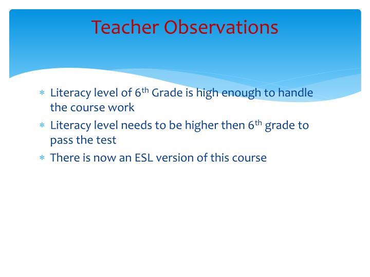 Teacher Observations