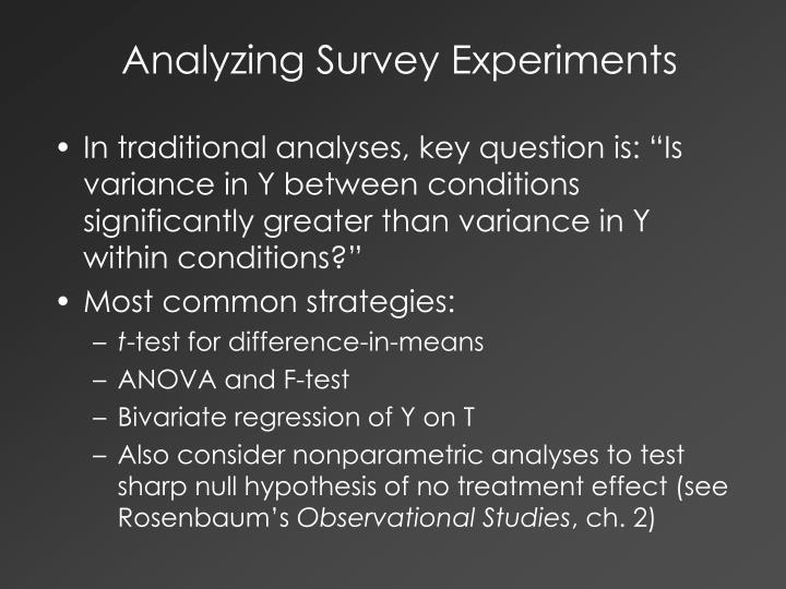 Analyzing Survey Experiments