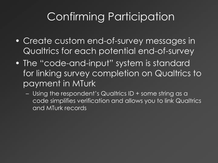 Confirming Participation