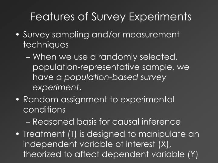 Features of survey experiments