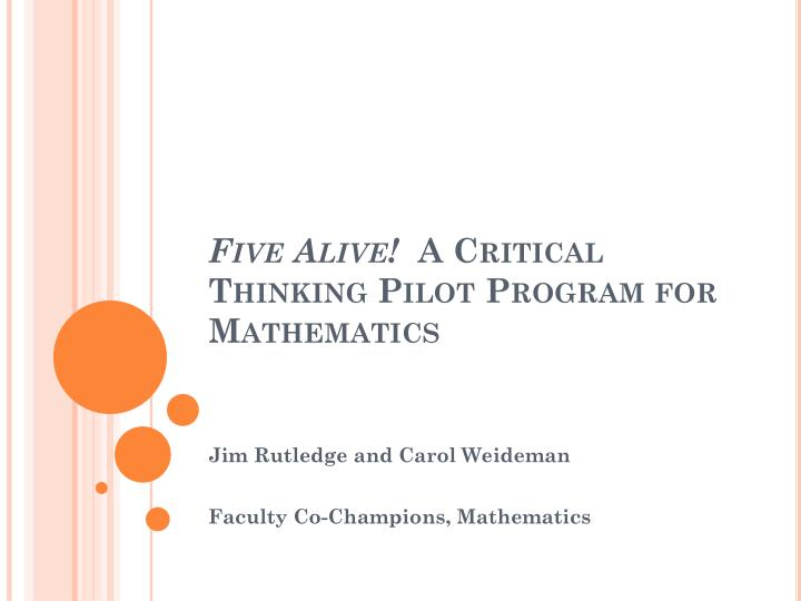 five alive a critical thinking pilot program for mathematics n.