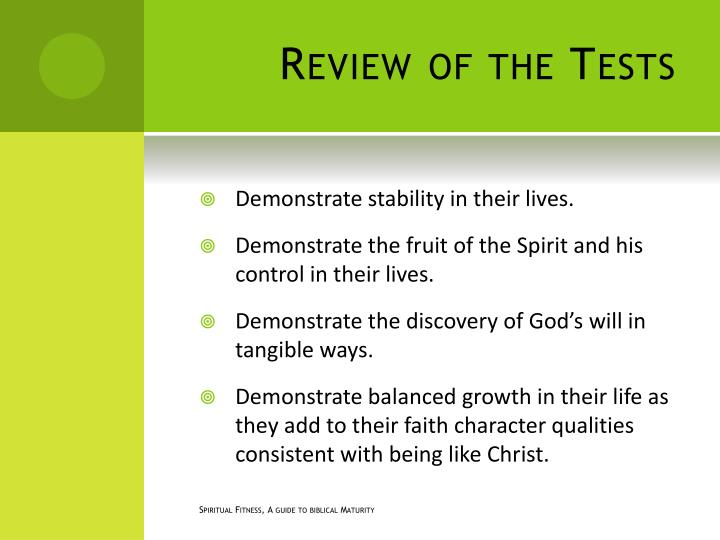 Review of the Tests