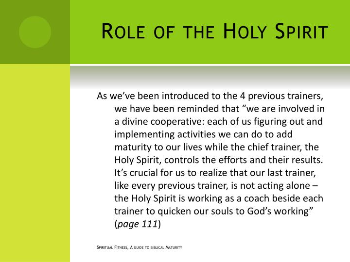 Role of the Holy Spirit