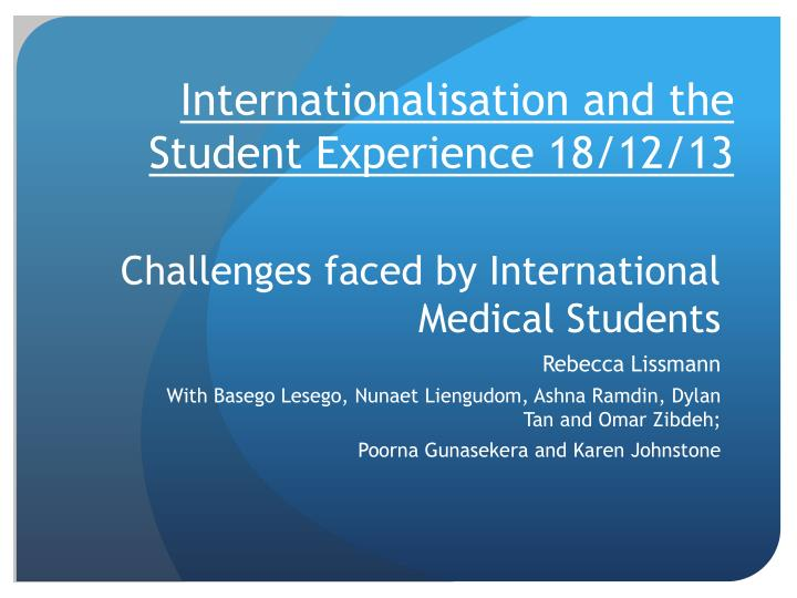challenges faced by international medical students n.