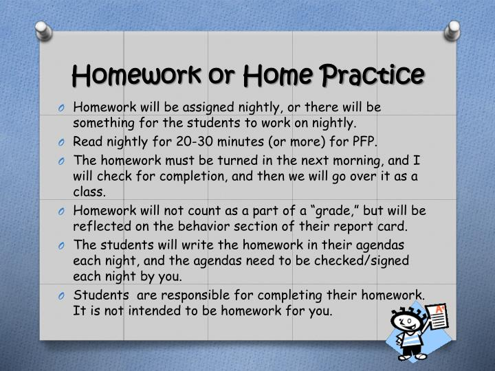 Homework or Home Practice