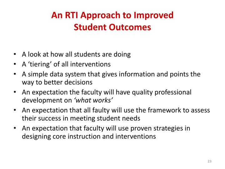 An RTI Approach to Improved
