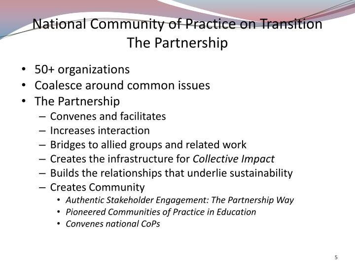 National Community of Practice on Transition