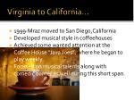 virginia to california