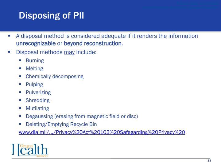 Disposing of PII
