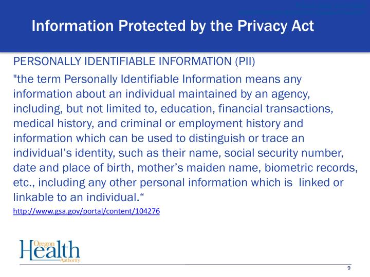 Information Protected by the Privacy Act