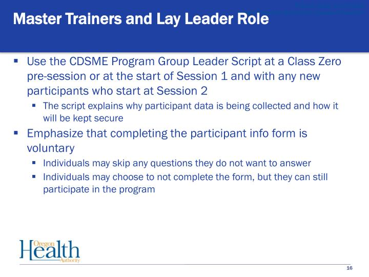Master Trainers and Lay Leader Role