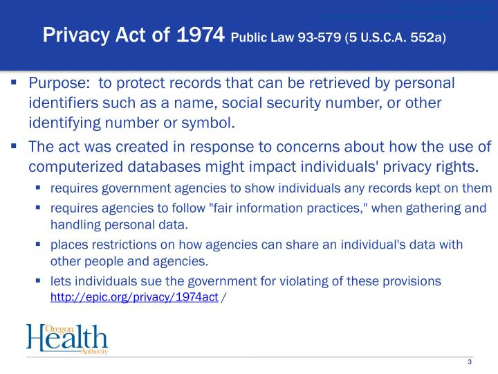 Privacy act of 1974 public law 93 579 5 u s c a 552a