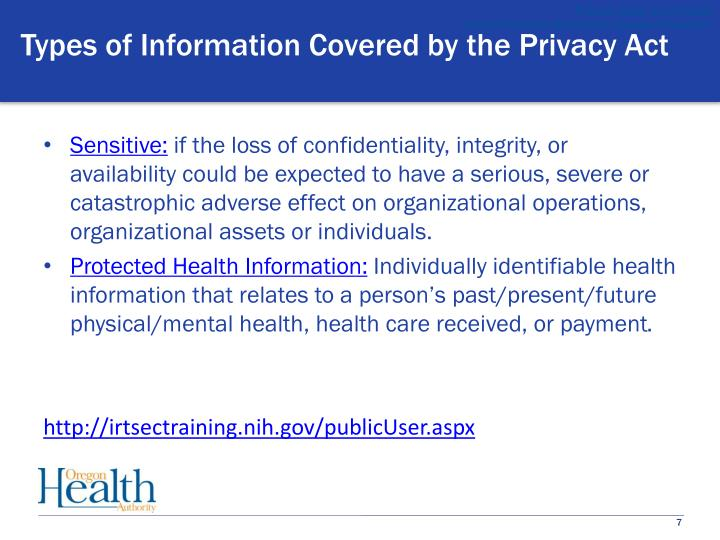 Types of Information Covered by the Privacy Act