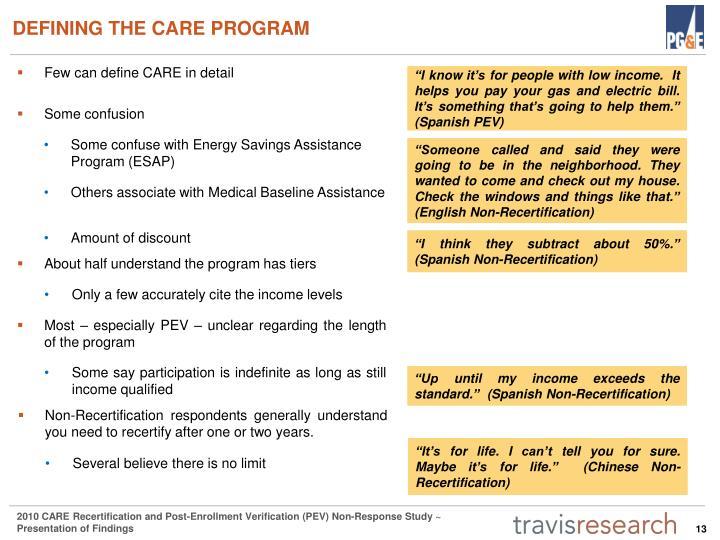 DEFINING THE CARE PROGRAM