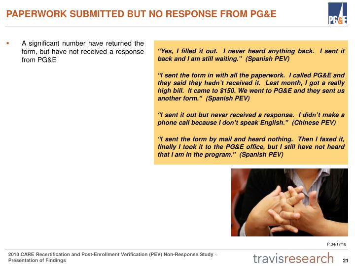 PAPERWORK SUBMITTED BUT NO RESPONSE FROM PG&E
