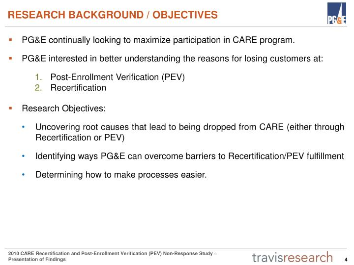 RESEARCH BACKGROUND / OBJECTIVES