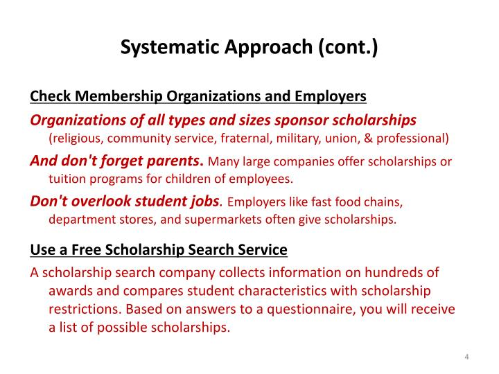 Systematic Approach (cont.)