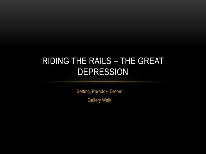 riding the rails the great depression n.