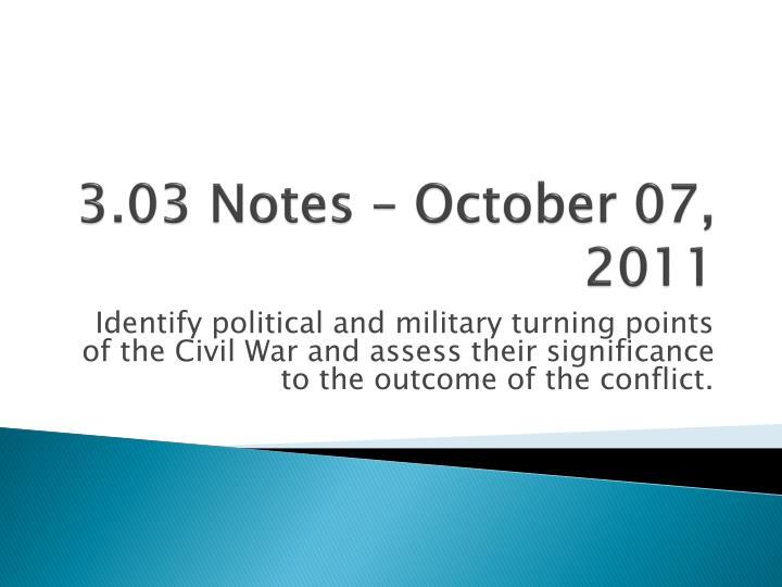 3.03 Notes – October