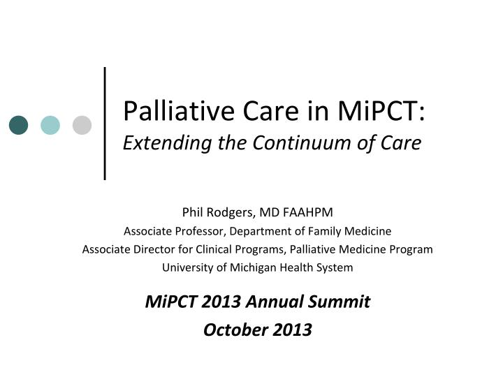 palliative care in mipct extending the continuum of care n.