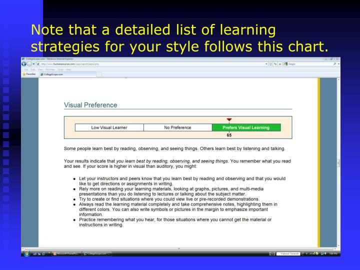 Note that a detailed list of learning strategies for your style follows this chart.