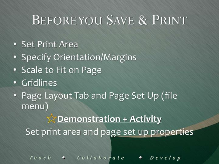 Before you Save & Print