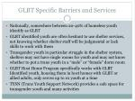 glbt specific barriers and services
