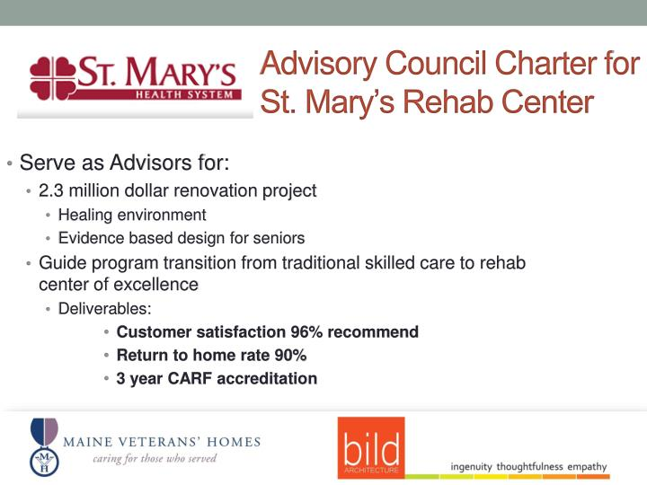 Advisory Council Charter for St. Mary's Rehab Center