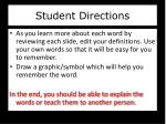 student directions
