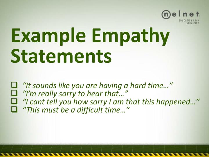 example empathy statements