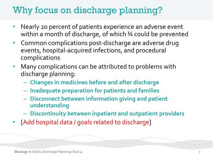 Why focus on discharge planning?