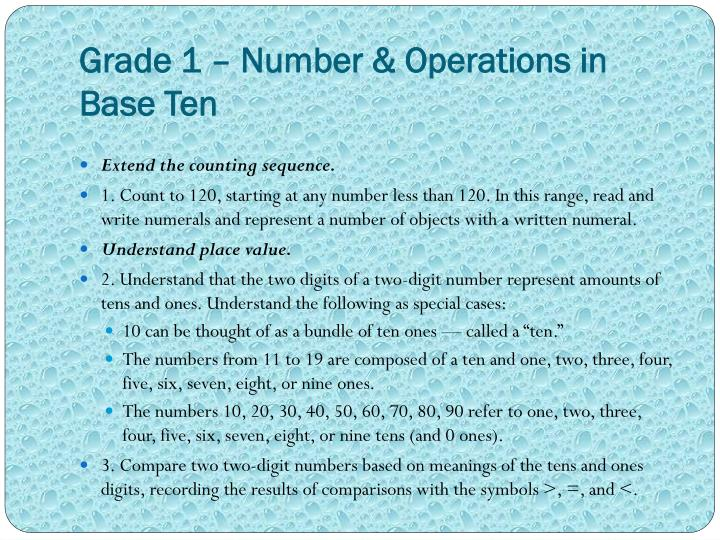 Grade 1 – Number & Operations in Base Ten