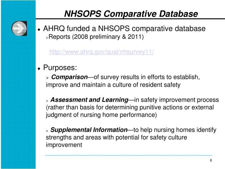 AHRQ funded a NHSOPS comparative database
