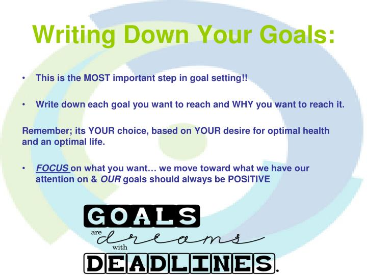 Writing Down Your Goals: