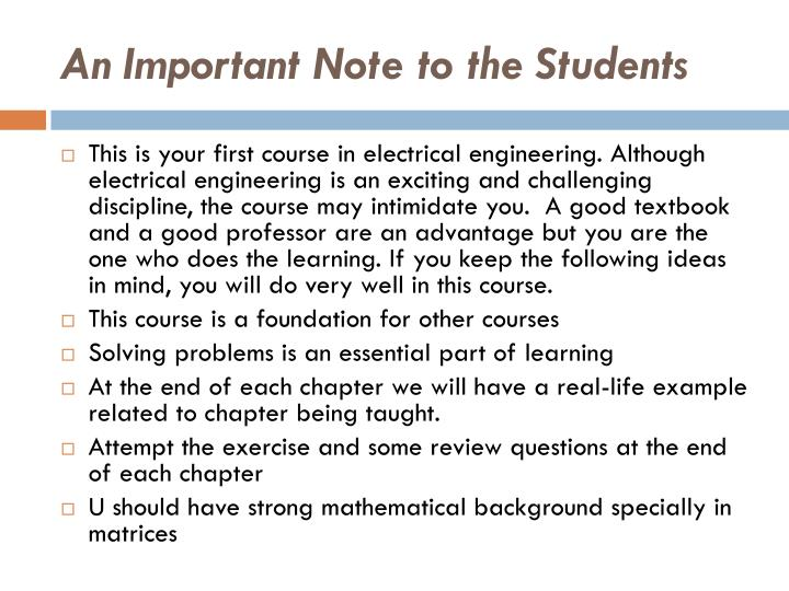 An Important Note to the Students