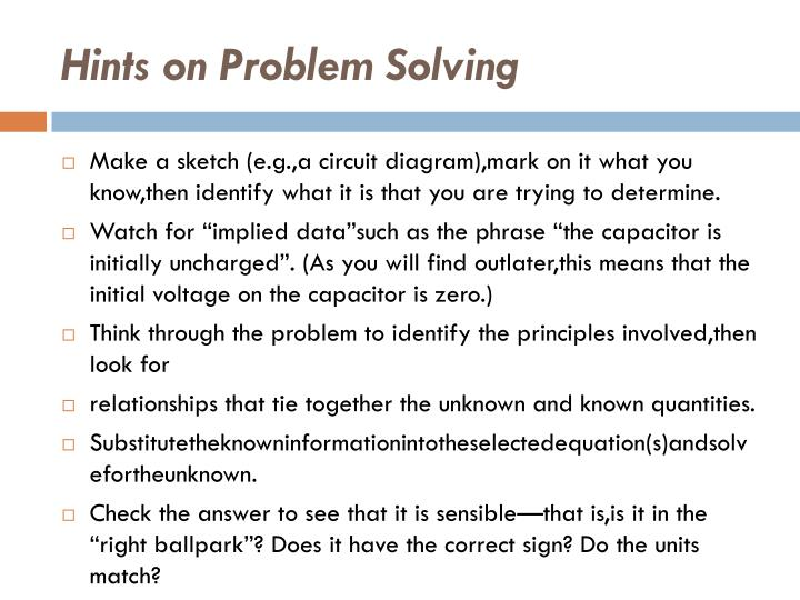Hints on Problem Solving
