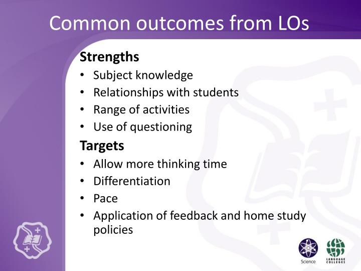 Common outcomes from LOs