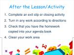 after the lesson activity