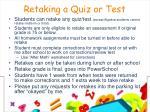 retaking a quiz or test