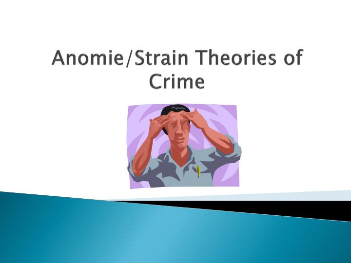 the theory of anomie essay Anomie (/ ˈ æ n ə ˌ m i /) is a condition in which society provides little moral guidance to individuals it is the breakdown of social bonds between an individual and the community, eg, under unruly scenarios resulting in fragmentation of social identity and rejection of self-regulatory values.