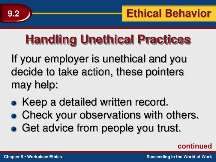 Handling Unethical Practices
